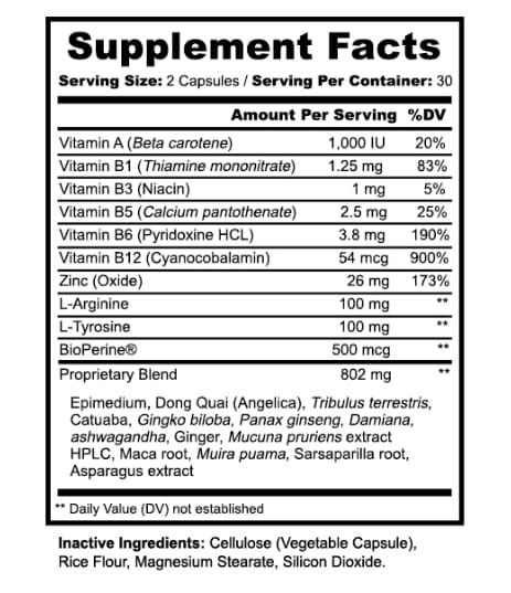 Warrior Made Female Enhancement Nutrition Information